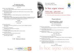 Program konferencji - Instytut Filologii Słowiańskiej