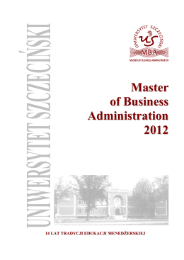 Master of Business Administration 20122