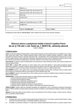 Rámcovú zmluvu o poskytovaní služieb a licencií k