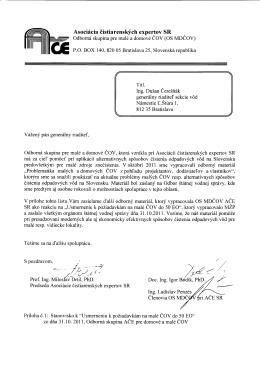 Stanovisko odbornej skupiny Malé a domové ČOV k
