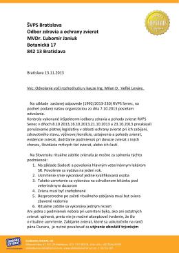 ŠVPS Bratislava Odbor zdravia a ochrany zvierat