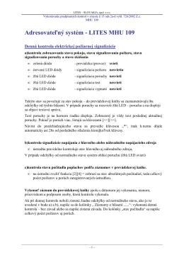 Adresovateľnđ systém - LITES MHU 109