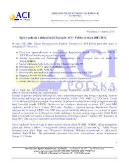 Sprawozdanie z działalności Zarządu ACI