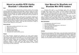 Návod na použitie RFID čítačky BlueGate 1 a