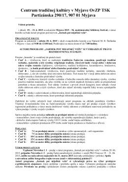 Pozvánka na Jarmek pot myjafskú vežu 2015