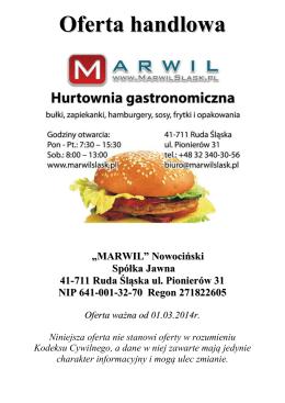 Oferta handlowa - Marwil hurtownia gastronomiczna
