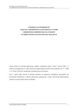 wniosek o zatwierdzenie taryf dla zbiorowego zaopatrzenia w wodę