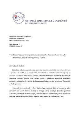 MUDr. Beáta Havelková MPH. Vec: Žiadosť o zaradenie nových