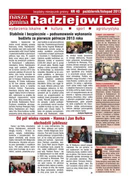 NASZA GMINA RADZIEJOWICE - bezpłatny miesięcznik gminny NR