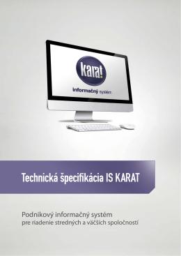 Technická špecifikácia IS KARAT