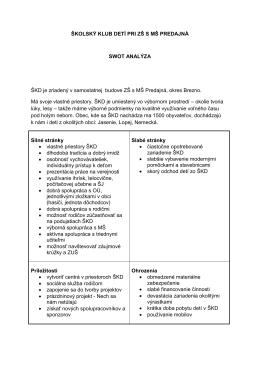 Výchovný program školského klubu detí a SWOT analýza