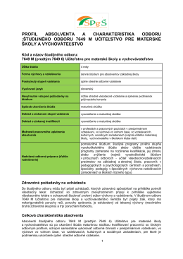 Profil absolventa a charakteristika študijného odboru UMSaV