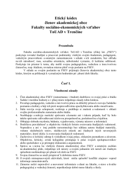 Etický kódex členov akademickej obce Fakulty sociálno