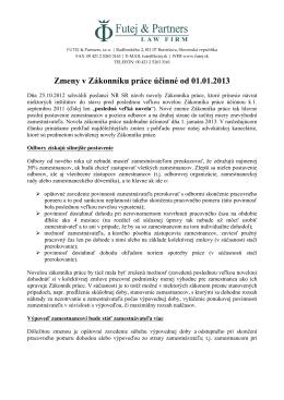 Zmeny v Zákonníku práce účinné od 01.01.2013 - futej-sk