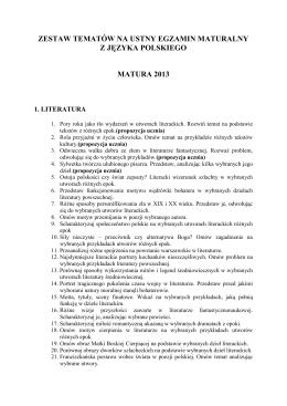 zestaw tematów na ustny egzamin maturalny z języka polskiego