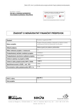 Príloha 2: Žiadosť o NFP - Program švajčiarsko