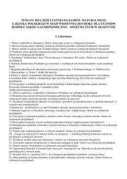 Matura 2015-tematy - Zespół Szkół Gastronomiczno
