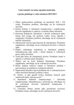 Lista tematów na ustny egzamin maturalny z języka polskiego