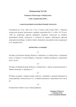 Postanowienie Nr 9 Komisarza Wyborczego w Jeleniej Górze z dnia