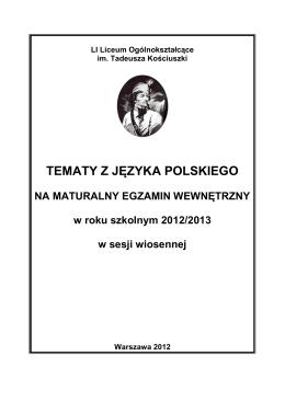 TEMATY Z JĘZYKA POLSKIEGO