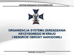 organizacja systemu zarządzania kryzysowego w kraju i resorcie
