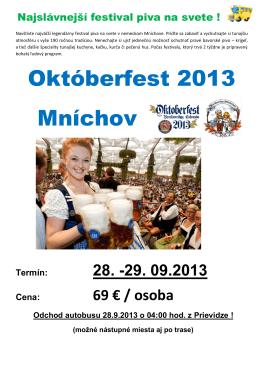 Októberfest 2013 Mníchov - Cestovná agentúra Výletovo