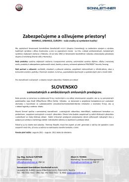 Werden Sie Vertriebspartner - SLOWAKEI