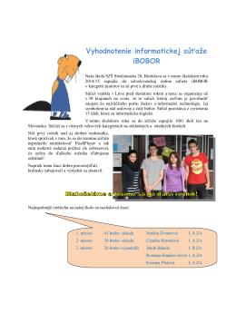 Vyhodnotenie informatickej súťaže iBOBOR