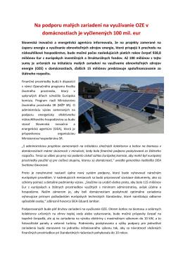 dotácie, podpora - EkoEnergy