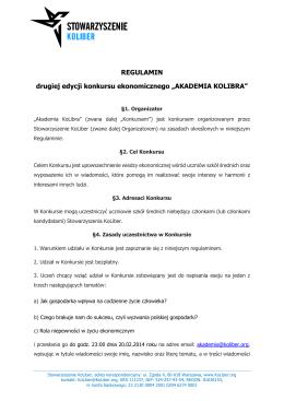 """REGULAMIN drugiej edycji konkursu ekonomicznego """"AKADEMIA"""