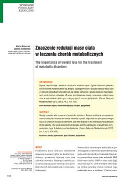 Znaczenie redukcji masy ciała w leczeniu chorób
