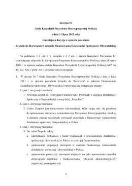Decyzja Nr Szefa Kancelarii Prezydenta Rzeczypospolitej Polskiej z