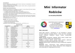 Informacje dla rodziców - Zespół Szkół Licealnych i Zawodowych