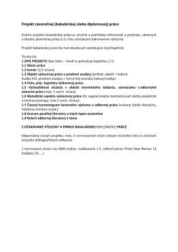 Projekt záverečnej (bakalárskej alebo diplomovej) práce