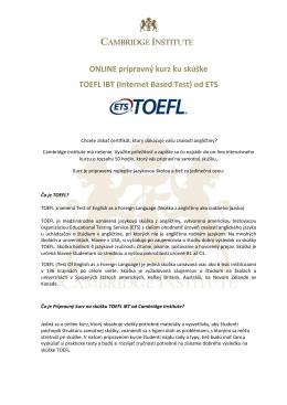 ONLINE prípravný kurz ku skúške TOEFL IBT (Internet