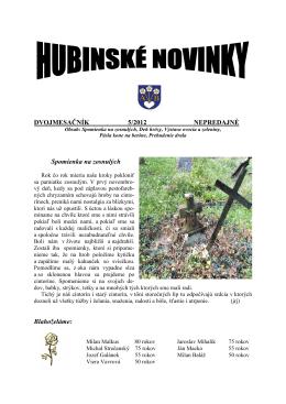 Hubinské novinky 5/2012
