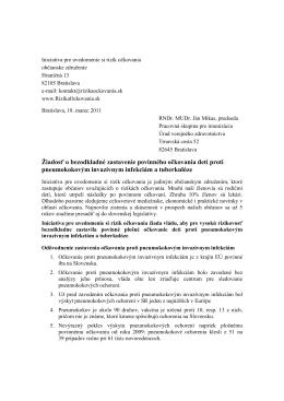 Žiadosť o bezodkladné zastavenie povinného očkovania detí proti