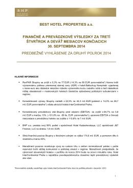 Štvrťročný report za 3. kvartál 2014