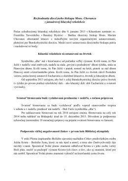 Rozhodnutia diecézneho biskupa z januárovej rekolekcie 2013