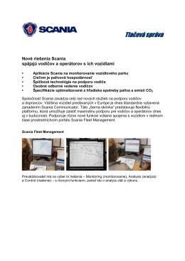 Podporné systémy - nové riešenia Scania