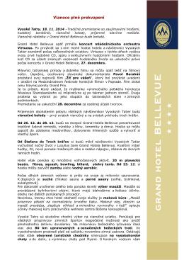 Vianoce plné prekvapení Vysoké Tatry, 18. 11. 2014