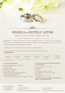 WESELA w HOTELU ASTOR