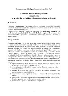 Poučenie a informovaný súhlas vypracovaný pre NsP