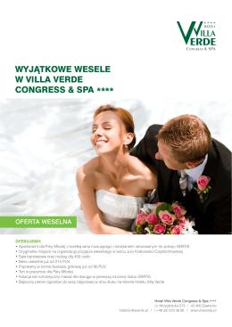 wyjątkowe wesele w Villa Verde Congress & spa ****