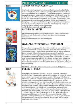 PIERWSZY ZAKUP - LUTY 2012 - Biblioteka Publiczna w Dzielnicy