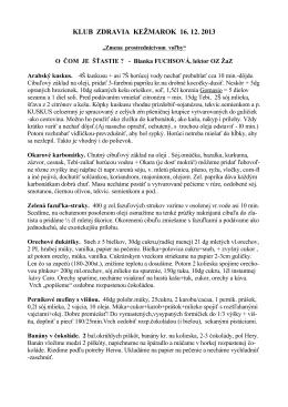 KLUB ZDRAVIA KEŽMAROK 16. 12. 2013