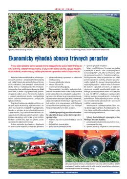 Ekonomicky výhodná obnova trávnych porastov