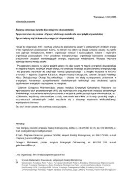 Warszawa, 12.01.2015 Informacja prasowa Żądamy zielonego