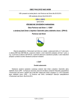02/2013 o záväznej časti Zmien a doplnkov Územného plánu