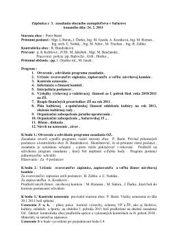 Zápisnica z 3. zasadania obecného zastupiteľstva v Sačurove